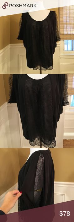 """Joie EUC Black Lace Detail Blouse Sz S Joie EUC Black Lace Detail Blouse Sz S, worn once, in EUC, 100% Silk, semi sheer where front lace panel is, wide open sleeve, front center blouse measured down 17"""", back center blouse measured down 23"""" armpit to armpit about 19"""" its wide sleeve so took guesstimate where it would fall, retail about $248 from Saks 🚫No Trades🚫 Joie Tops"""