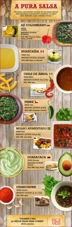 Salsa Picante – 7 Salsas Picantes Latinas | QueRicaVida.com (In Spanish) Mexican Food Recipes, Snack Recipes, Cooking Recipes, Dips, Salsa Picante, Good Food, Yummy Food, Colombian Food, Comida Latina