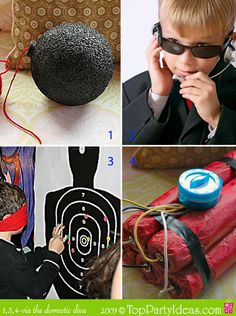 some neat ideas for invites (include the spy glasses in  invites) and decor/games.  I think the silhoutes might be fun for some nerf gun practice (sticky bullets maybe?)  Now to find some cheap nerf guns for favors