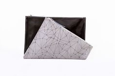Screenprinted leather double clutch bag by BLACKLIST Leather Clutch, Clutch Bag, Double Clutch, Screen Printing, Fashion Accessories, Wallet, Bags, Fashion Design, Collection