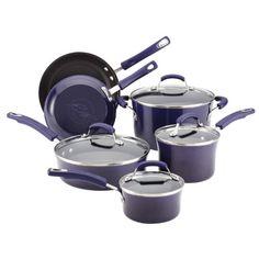 Rachael Ray Porcelain Enamel II Nonstick 10-Piece Cookware Set, Purple Gradient Rachael Ray http://smile.amazon.com/dp/B008PRJ1P0/ref=cm_sw_r_pi_dp_XDKTub14H5WH1