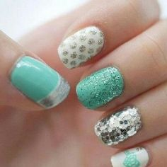 #Nails #NailPolish #Sparkles #Silver #Light #Blue #Pastel #PolkaDots #Dots #Heart #Cute #Simple #Beauty #Idea #Design #Different