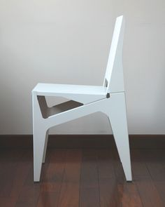 Sheet metal chair / Liyun Design Objects. The chair is composed entirely of sheet metal. A simple folding forms a strong structure using a very thin sheet metal. The procedure is easy, accurate and fast. These kinds of applications can be seen almost everywhere. The triangle rack of an air conditioner is a very good example of the use of sheet metal. A vertical triangle can sustain great weight. The chair can be simply assembled by screws, and can be disassembled into one-quarter of its…