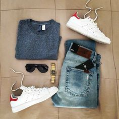 Are you wondering how to wear white sneakers for men or how to look sharp in simple jeans and casual shirt outfits? Then this 30 coolest casual street style looks is just the perfect guide you need to help you look AMAZING! Casual Wear, Casual Outfits, Men Casual, Mode Outfits, Fashion Outfits, Fashion Trends, Mode Man, Outfit Grid, Mode Inspiration
