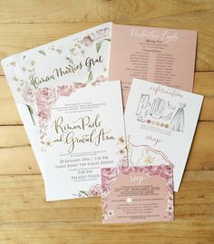 Pretty in pink and gold a young and elegant debut suite old rose wedding invitation suite pink by ink scribbler stopboris