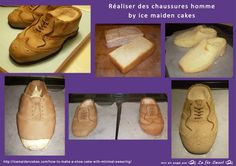 HOW TO cake shoes man by ice maiden cakes    Tutorial: http://icemaidencakes.com/how-to-make-a-shoe-cake-with-minimal-swearing/