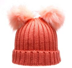 Pom Pom Women's Winter Chunky Knit Beanie Hat Double Acrylic Faux Fur Ears Pink | Clothing, Shoes & Accessories, Women's Accessories, Hats | eBay!