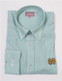 Men's Notre Dame Broad Stripe Dress Shirt by Pennington & Bailes.  Buy it @ Readygolf.com