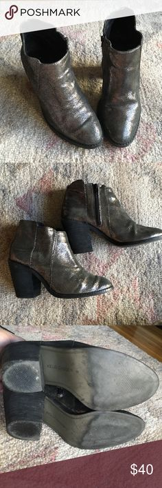 """Kelsi Dagger """"Jaegger"""" Bootie Crackled pewter leather goes with anything! Jeans, leggings, dresses... surprisingly versatile! Bought last year from Bloomingdale's and worn very little. Super comfy! 2.75"""" heel Kelsi Dagger Shoes Ankle Boots & Booties"""