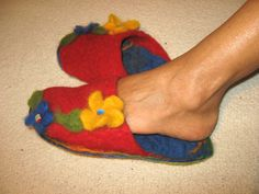 Soft Merino Wool Red Needle Felted Slippers by MariolasFeltDesign