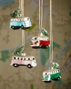 Cody Foster Tiny Holiday Bus Christmas Ornaments, 4-Piece Set