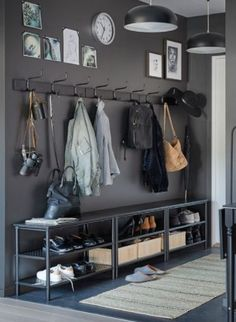Mudroom with charcoal grey cupboards that includes brass pulls furnished with a Decor, Interior, Hallway Inspiration, Storage Spaces, Deco, Home Decor, Entryway Decor Small, Home Deco, Small Decor