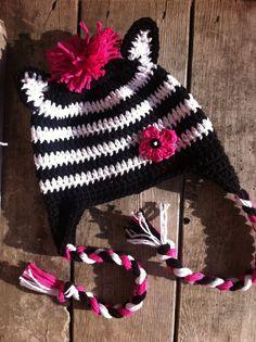 Hot Pink Zebra crochet hat with earflaps