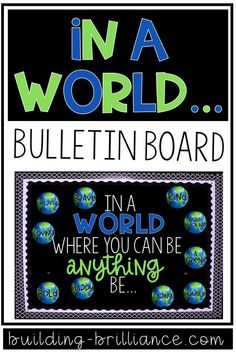 In a world where you can be anything, be. This bulletin board kit is perfect for primary and upper grades alike to keep up all year long. Add one trait each month, or decide what traits you want you World Bulletin Board, Kindness Bulletin Board, Elementary Bulletin Boards, Interactive Bulletin Boards, Teacher Bulletin Boards, Back To School Bulletin Boards, Preschool Bulletin Boards, Bulletin Board Display, Classroom Bulletin Boards