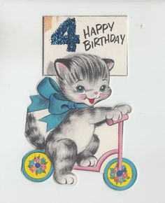 """Kitty Baby on Scooter w/Glittered """"4""""  ~ Vintage Birthday Greeting Card"""