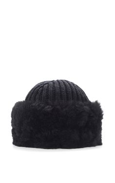 Black Cashmere And Alpaca Shearling Hat by DOLCE & GABBANA Now Available on Moda Operandi