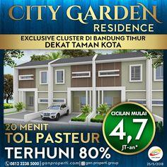 Exclusive Cluster di Bandung Timur BOOKING City Garden Residence SEKARANG! Lokasi dekat Taman Kota!  Cicilan Mulai 4,7 Jutaan! (Free Biaya KPR, BPHTB, AJB, SHM)  + Memakai bahan bangunan berteknologi dan berkualitas (HEBEL) + Akses ± 20 menit TOL PASTEUR, Mudah diakses ke pusat kota + Akses 5 menit dari jalan A.H Nasution   Info lebih lanjut hubungi ke 0812 3238 5000 (Telp/WA) Spek dan Harga cek di www.ganproperti.com  #house #rumahnyaman #properti #perumahan #property #realestatelife