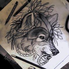 Resultado de imagen para wolf tattoo neo traditional