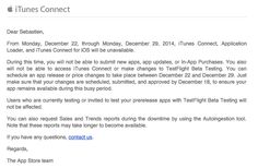 If you are part of the iTunes Connect program, you should have already received an email by Apple informing you that the service will be unavailable from Monday, December 22 to Monday, December Ios News, News Apps, December 22, Itunes, Connection, Apple, Holidays, Apple Fruit, Holidays Events