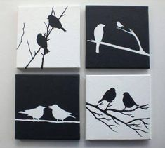 Love Birds Black and White Set of 4 Canvases Children Art Wall Decor Ready to Hang tolle schwarz-weiß Vögel mit Acryl gemalt; Original acrylic painting Black & White Love Birds by EditVorosArt, Bird Painting Acrylic, Love Birds Painting, Black Art Painting, Painting Walls, Diy Canvas, Wall Canvas, Canvas Art, Cuadros Diy, Bedroom Art