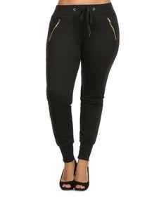C.O.C. Black & Gold Zip Jogger Pants - Plus | zulily