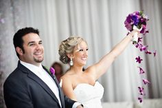 Textured updo. Bridal hair. Orchid bouquet. MUA Patti Simmons