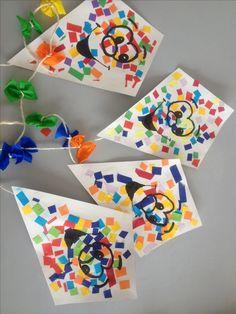 Teken een vliegervorm op een vel papier, en laat de kinderen ondertussen kleine stukjes papier knippen of scheuren. Nu mogen ze de vlieger beplakken. Hierna uitknippen en een staart eraan knutselen. Variant: laat de kinderen een reeks langs de lijn van de vlieger plakken. (het gezichtje op de vlieger hoeft van mij niet zo...)