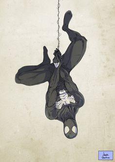 Marvel Black Spider-Man with venom symbiote painting style reference Black Spiderman, Spiderman Art, Amazing Spiderman, Spiderman Costume, Spiderman Drawing, Marvel Dc Comics, Marvel Heroes, Marvel Avengers, Spiderman Tattoo