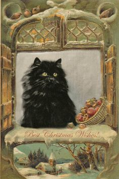 fluffy black Christmas cat, artwork by P. Kirmse