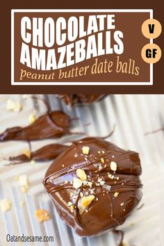 Healthy, Chocolate and Peanut Butter packed balls of heaven. Ddates, peanut butter, oats, shredded coconut and maple syrup, these chocolate peanut butter bon bon are irresistible! #VeganSnacks   #BonBons   #HealthySnacking   #HealthyRecipes at OatandSesame.com #OatandSesame Healthy Chocolate, Delicious Chocolate, Vegetarian Chocolate, Chocolate Flavors, Chocolate Peanut Butter, Chocolate Recipes, Chocolate Tarts, Chocolate Hazelnut, Chocolate Fudge