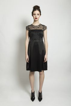 A line dress with lace detailed top and cap sleeve. Material: Sateen Lace Colour: Black Made to Order Aw 2014, Colour Black, Color, Chantilly Lace, 21st Century, Lace Detail, Cap Sleeves, Lace Dress, Fashion Outfits