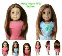Our Pretty Perfect girl doll wig in Auburn. Can be glued for a center or side part.