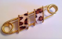 """Vintage Safety Pin Brooch Animal Print Fabric Gold Tone Signed B.S.K. 3"""" #BSK"""