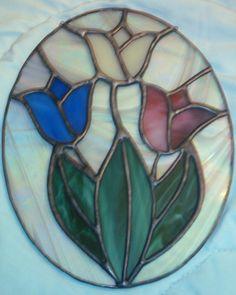 Tulips Stained Glass Suncatcher - Copper Foil Technique
