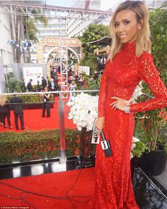Lovely in lace: Giuliana Rancic had changed from her pre-show look, which consisted of a  lacy scarlet gown