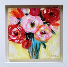 """'French Roses in a Tall Vase'<p class="""""""" ... Acrylic Art, Acrylic Paintings, White Box Frame, Irish Art, Tall Vases, Box Frames, American Artists, Lovers Art, Impressionism"""