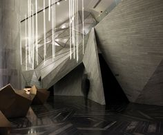 Chongqing Mountain & City Sales Office-The marble floor is laid in a bold triangular pattern, adding to the jagged angularity of the space. It also provides some visual contrast to the interior walls, which were kept a stark gray.