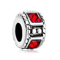 Silver Plated Red Swarovski Element Crystal Charm Bracelet Spacers