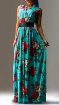 Elegant V-Neck Sleeveless Floral Printed Pleated Maxi Dress For Women #Elegant #Turquoise #Blue #Red #White #Roses #Floral #Maxi #Dress #Fashion