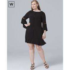 6096b8bde05 White House Black Market Plus Bell-Sleeve Black Shift Dress