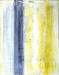 Acrylic Abstract Art Painting Grey Yellow and White por T30Gallery