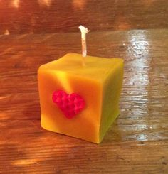 Beeswax Valentine/Santes Dwynwen Cube Candle by MelPenylan on Etsy