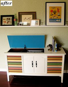 This used to be a 1950s stereo cabinet, now it's a super awesome storage piece and shelf.