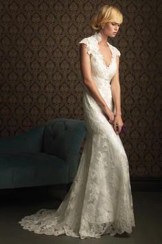 Dazzling V-Neck Sheath Column Cheap Lace Back Wedding Dresses With Sleeves
