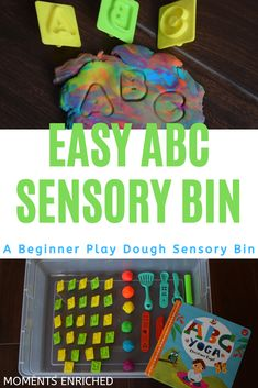 This ABC Play Dough Sensory Bin is easy to put together and will keep your kiddo entertained for what seems like forever in toddler time! Help your kiddo learn the alphabet and have fun with play dough along the way. This is also a great no-mess sensory bin for beginners or those who don't want a potential rice dump on the floor! Give this sensory bin a whirl! Toddler Fine Motor Activities, Toddler Sensory Bins, Indoor Activities For Toddlers, Toddler Learning, Preschool Activities, Homemade Crayons, Homemade Playdough, Homemade Gifts, Easter Egg Stuffers