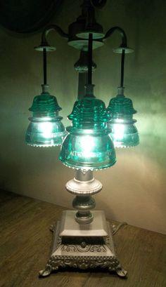Antique glass art orig telegraph glass insulator table for Telephone insulator light fixture