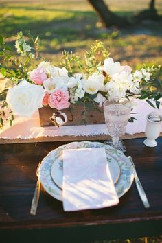 Savannah Wedding Shoot at Woodlawn Plantation | Vintage Place Settings + White & Pink Floral Centerpieces with Cotton