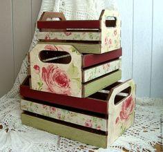 """Купить Набор корзинок-ящиков """" Розы прованс 3 шт - разноцветный, короба для кухни"""