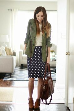 Outfits To Wear With Ankle Boots Hunter Green Military Jacket Bonjour Sweater Navy Polkadot Skirt