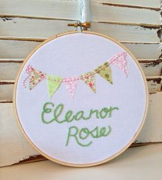 """Nursery Decor, Made To Order Hand Embroidery, One Of A Kind, Embroidery Hoop Art, 6"""" Hoop, Pink and Green Flower Bunting, Child and Nursery"""